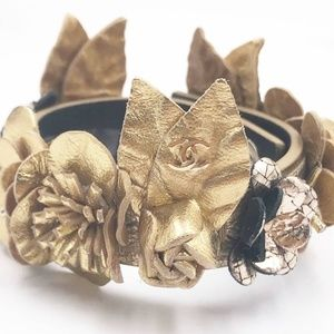 Chanel New Gold Hand made Leather Flower Bracelet